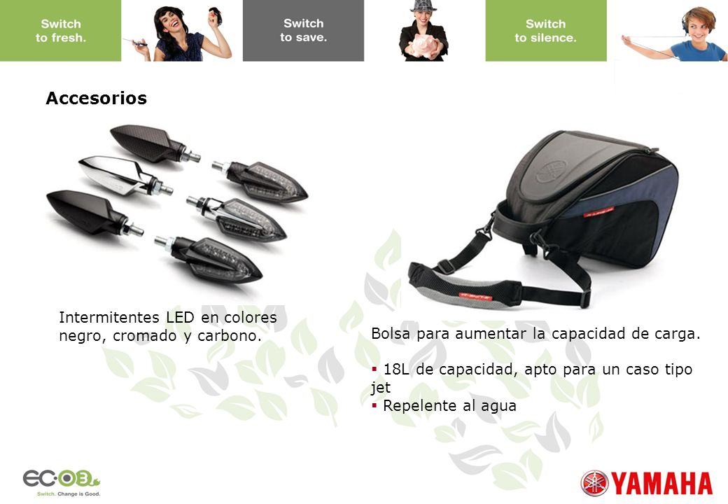 Accesorios Intermitentes LED en colores negro, cromado y carbono.