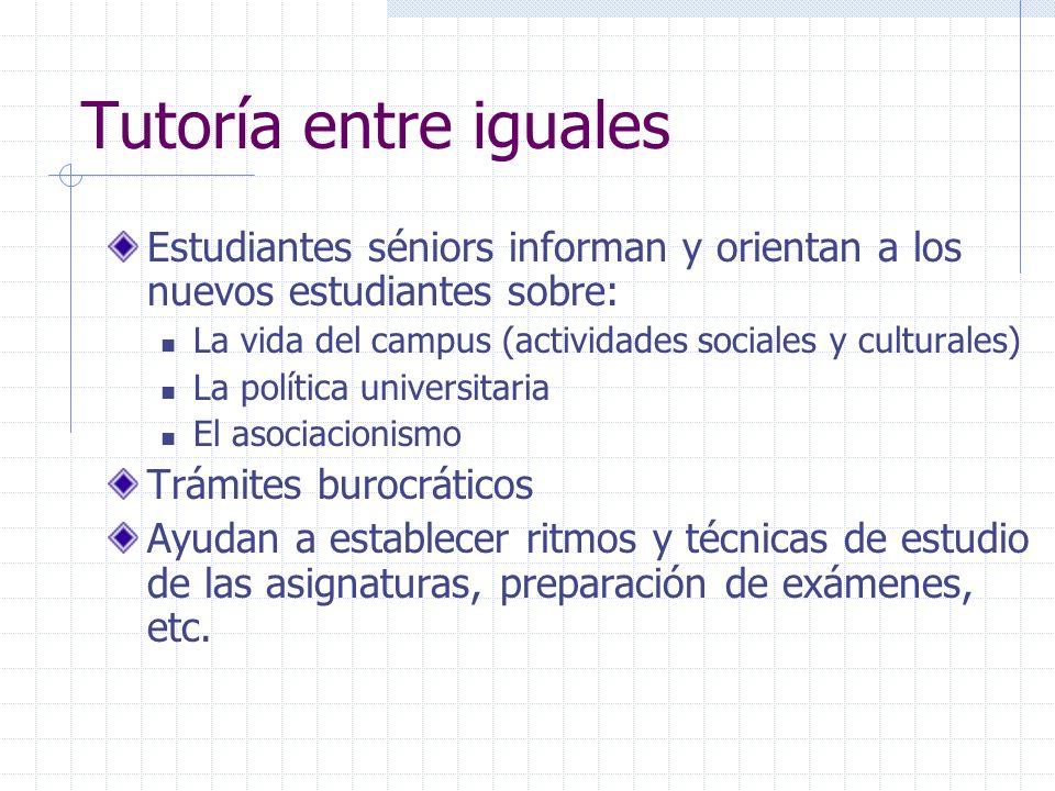 Tutoría entre igualesEstudiantes séniors informan y orientan a los nuevos estudiantes sobre: La vida del campus (actividades sociales y culturales)