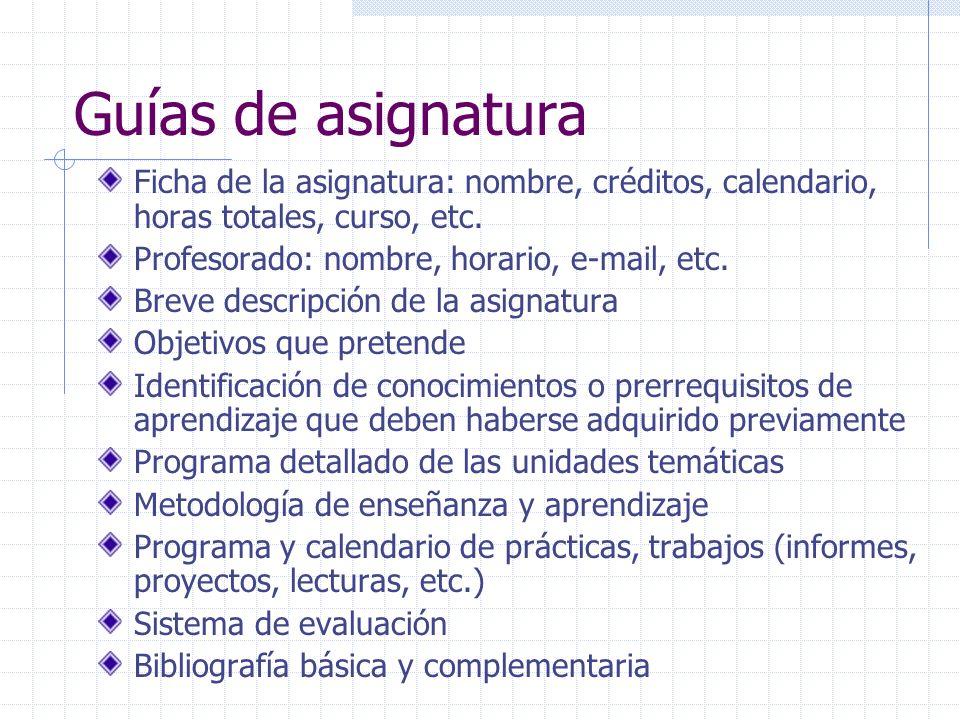 Guías de asignaturaFicha de la asignatura: nombre, créditos, calendario, horas totales, curso, etc.