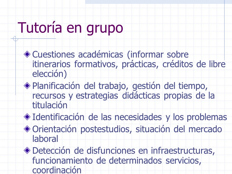 Tutoría en grupoCuestiones académicas (informar sobre itinerarios formativos, prácticas, créditos de libre elección)