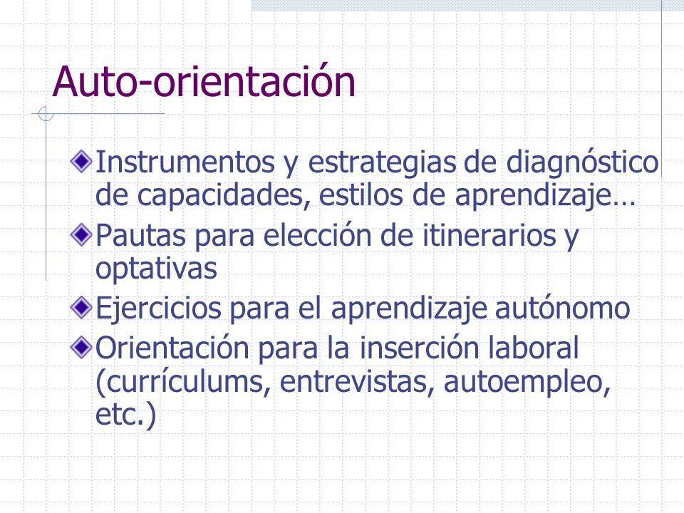 Auto-orientaciónInstrumentos y estrategias de diagnóstico de capacidades, estilos de aprendizaje… Pautas para elección de itinerarios y optativas.