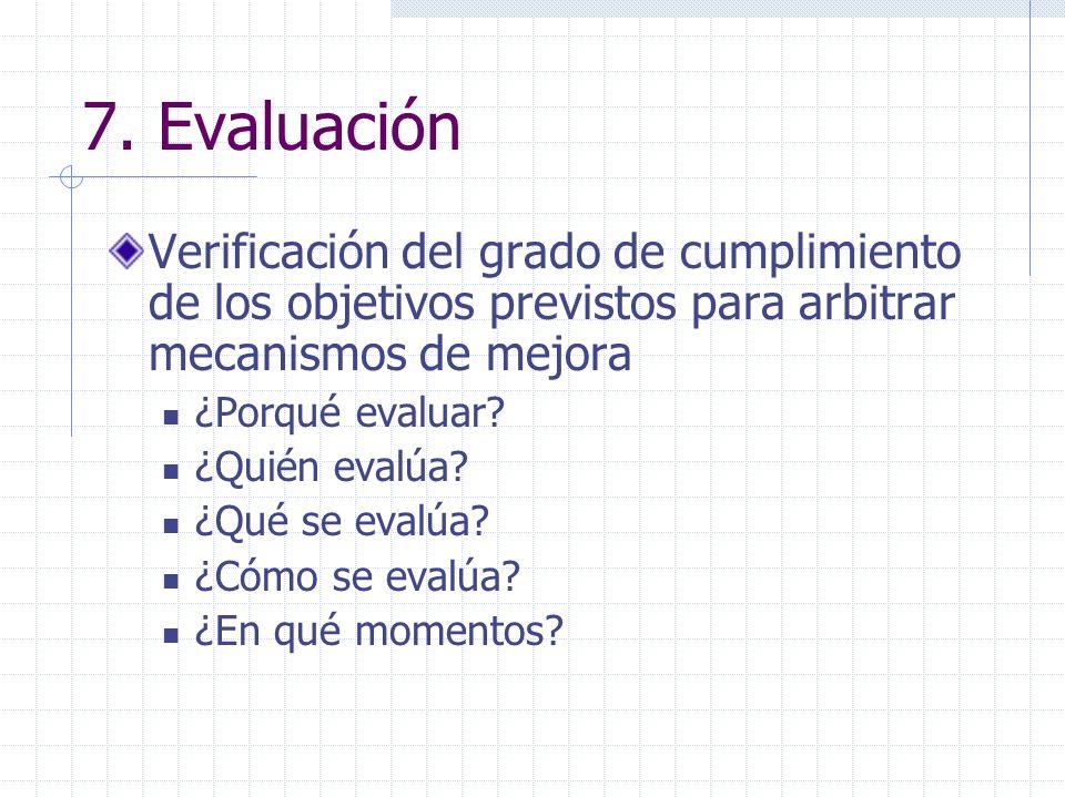 7. EvaluaciónVerificación del grado de cumplimiento de los objetivos previstos para arbitrar mecanismos de mejora.