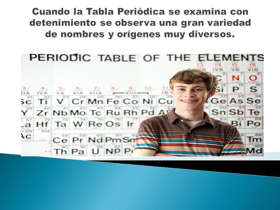 2 cuando la tabla peridica se examina con detenimiento se observa una gran variedad de nombres y orgenes muy diversos - Tabla Periodica Nombres Origen