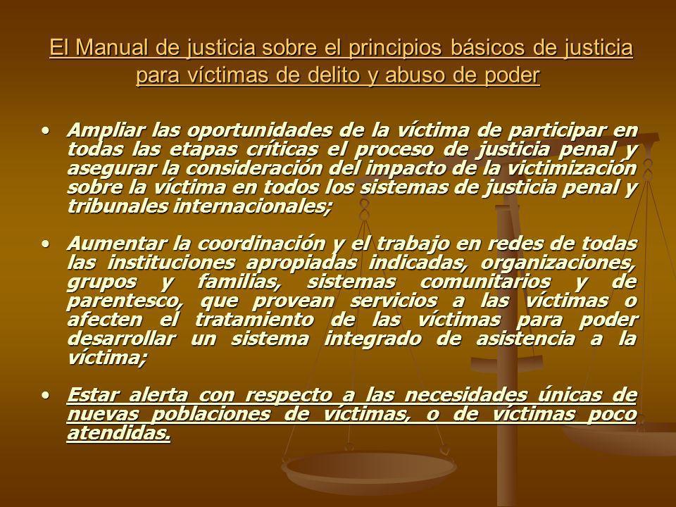 El Manual de justicia sobre el principios básicos de justicia para víctimas de delito y abuso de poder