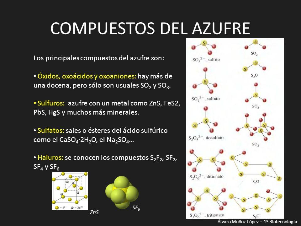 COMPUESTOS DEL AZUFRE Los principales compuestos del azufre son: