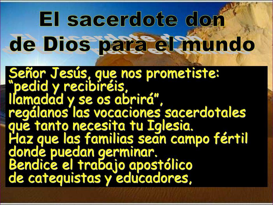 El sacerdote don de Dios para el mundo. Señor Jesús, que nos prometiste: pedid y recibiréis, llamadad y se os abrirá ,
