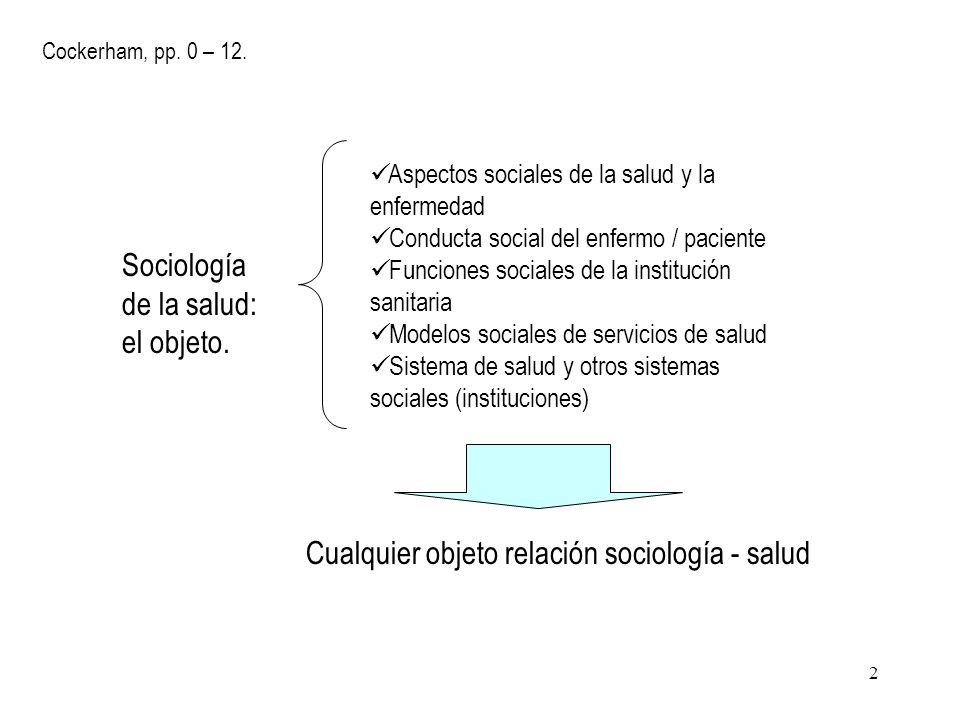 Sociología de la salud: el objeto.
