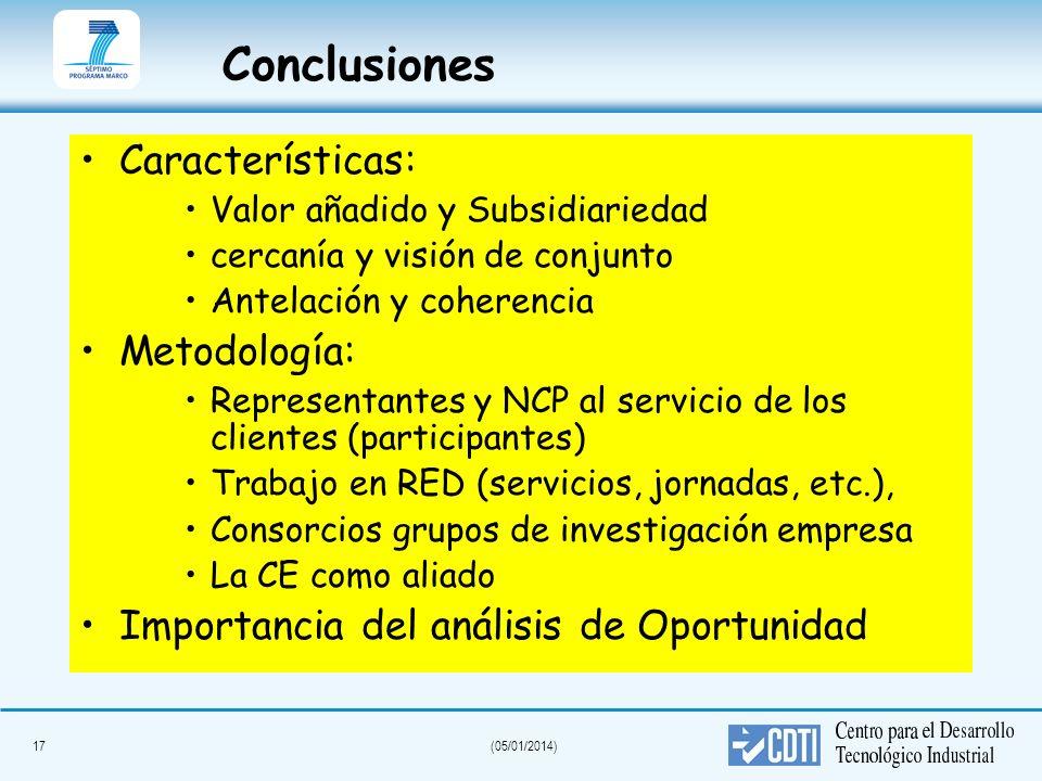 Conclusiones Características: Metodología: