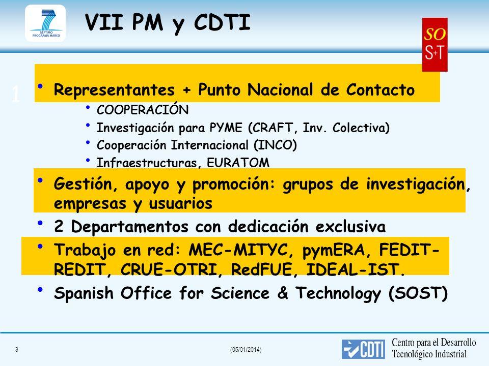 VII PM y CDTI 1 Representantes + Punto Nacional de Contacto