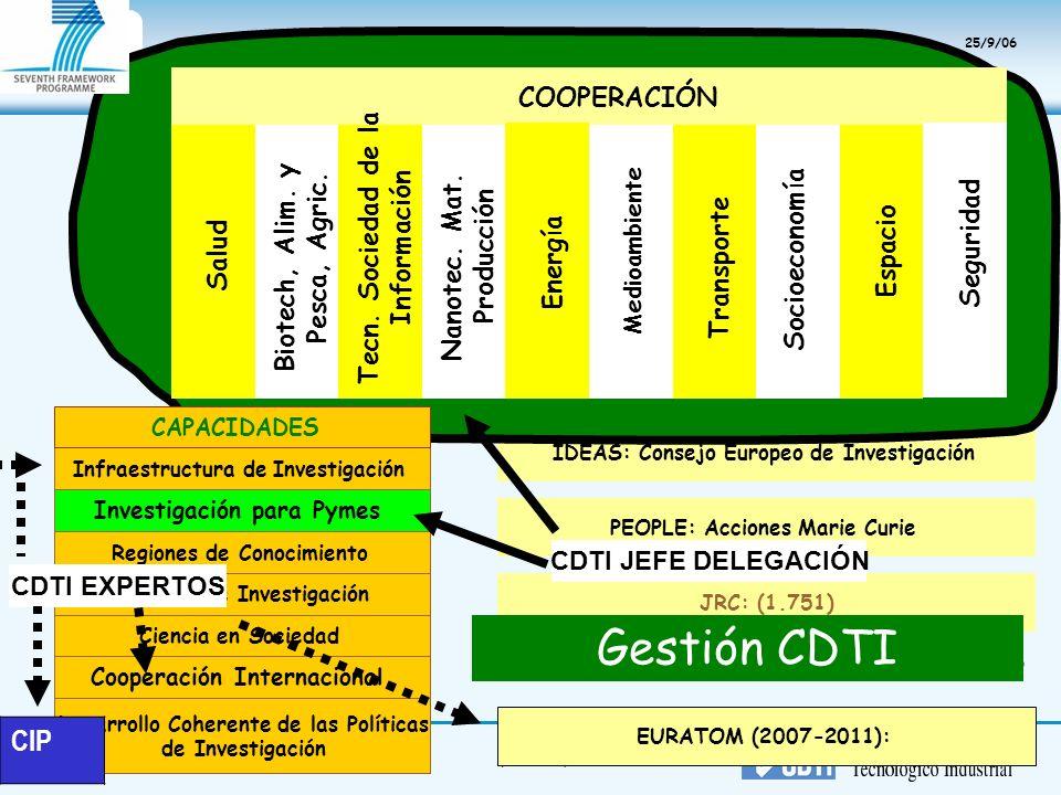Gestión CDTI CIP COOPERACIÓN Tecn. Sociedad de la Información
