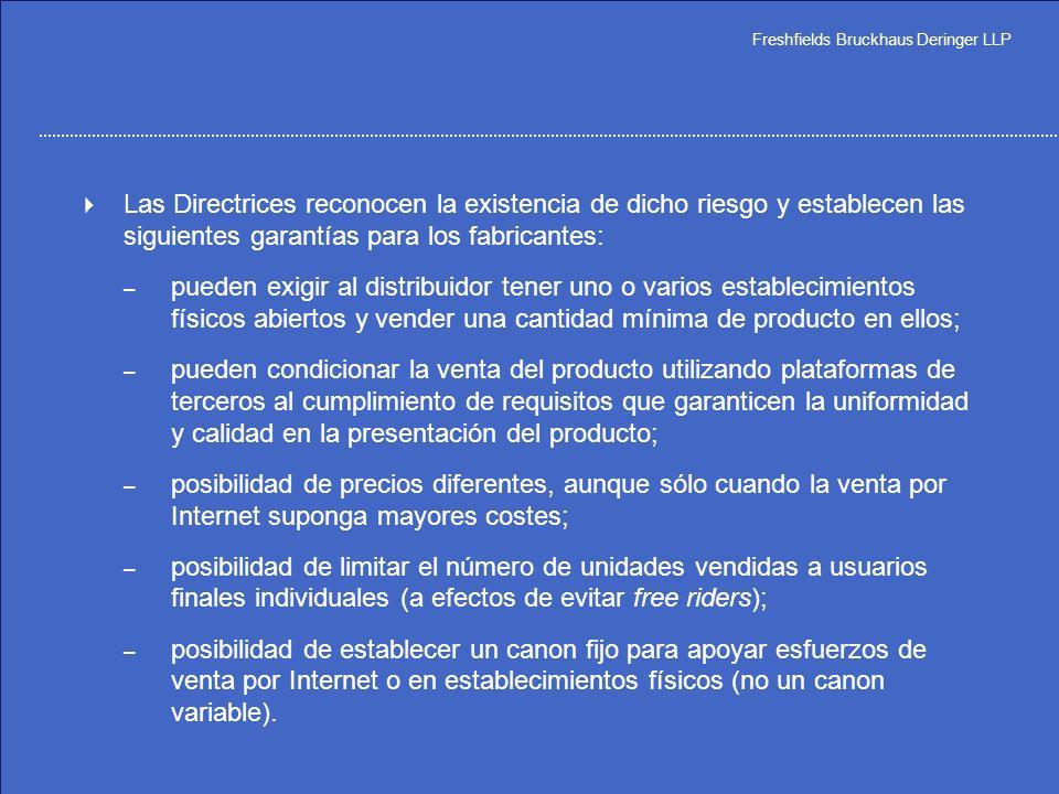 Las Directrices reconocen la existencia de dicho riesgo y establecen las siguientes garantías para los fabricantes: