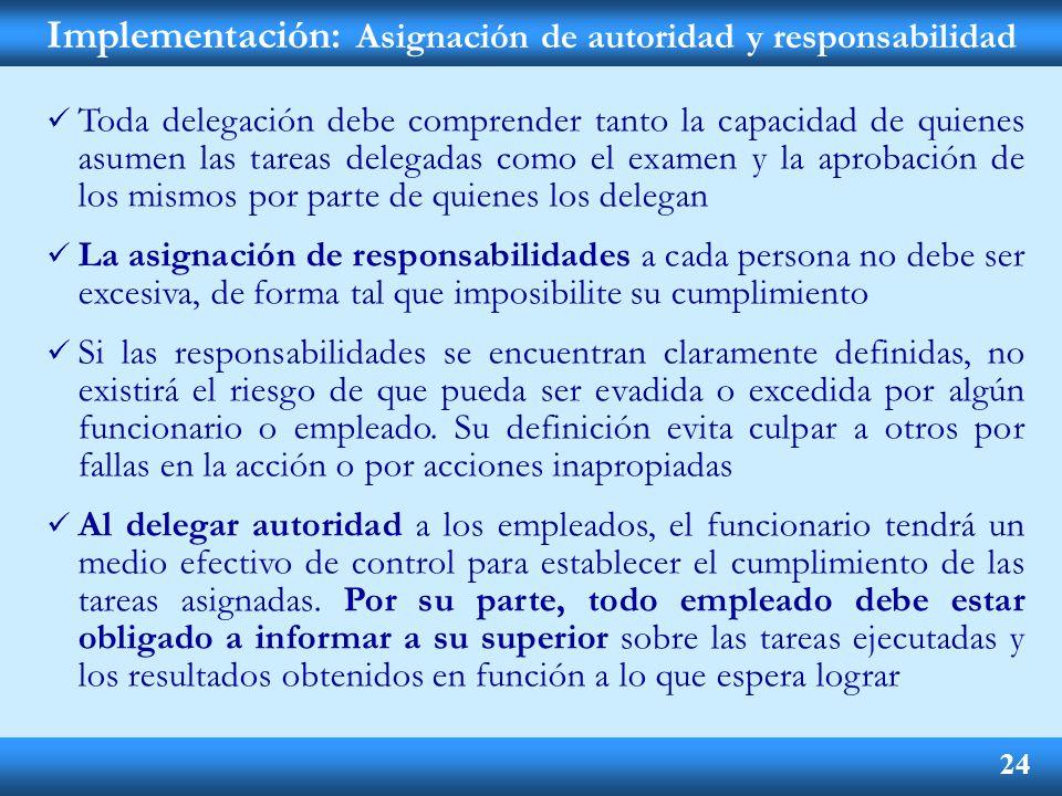 Implementación: Asignación de autoridad y responsabilidad
