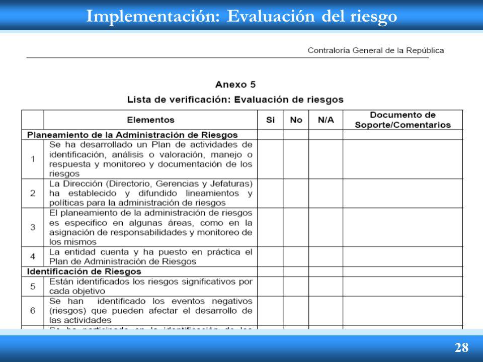 Implementación: Evaluación del riesgo