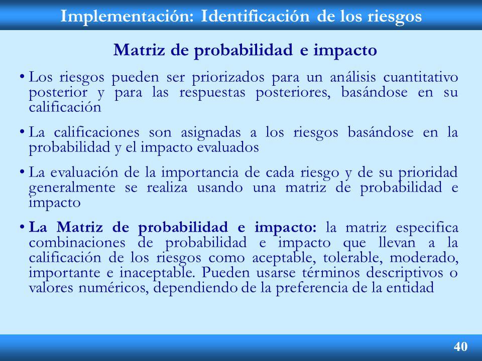 Implementación: Identificación de los riesgos