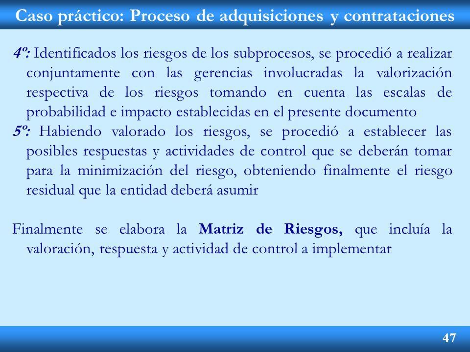 Caso práctico: Proceso de adquisiciones y contrataciones