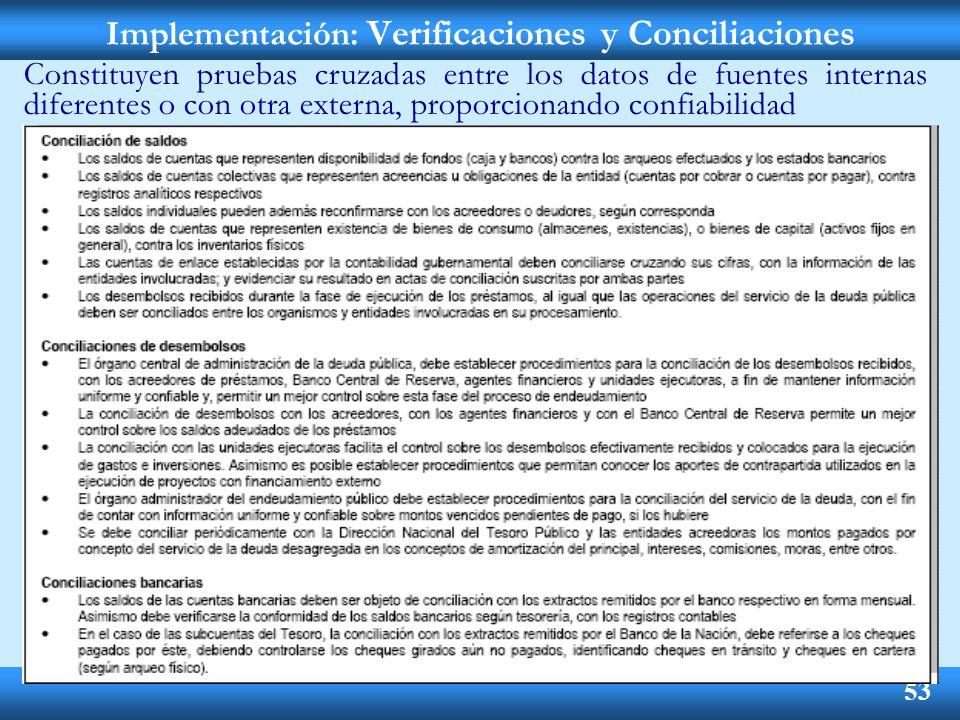 Implementación: Verificaciones y Conciliaciones