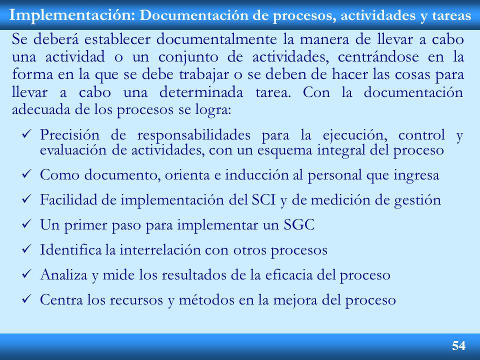 Implementación: Documentación de procesos, actividades y tareas