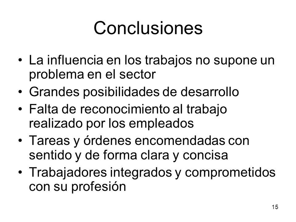 Conclusiones La influencia en los trabajos no supone un problema en el sector. Grandes posibilidades de desarrollo.