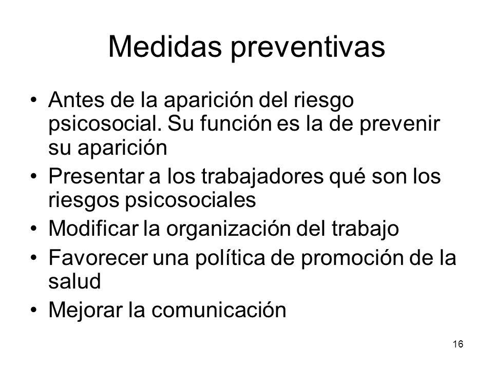 Medidas preventivas Antes de la aparición del riesgo psicosocial. Su función es la de prevenir su aparición.