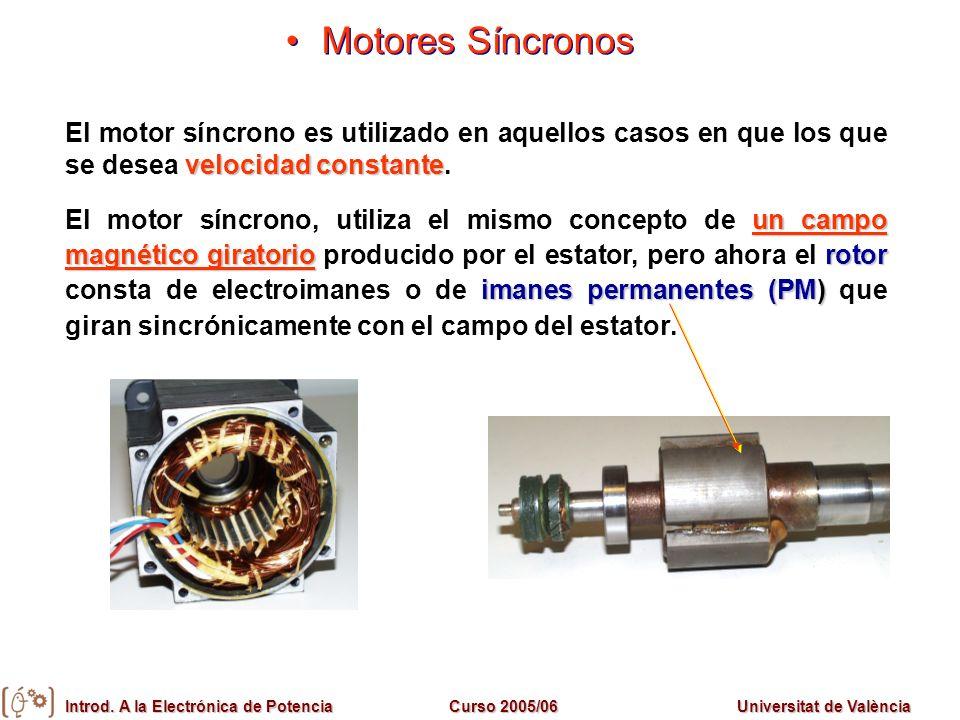 Motores SíncronosEl motor síncrono es utilizado en aquellos casos en que los que se desea velocidad constante.