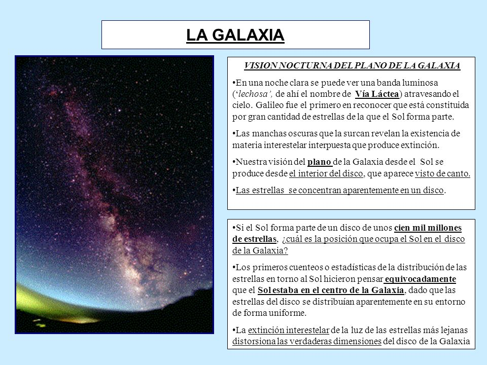 VISION NOCTURNA DEL PLANO DE LA GALAXIA