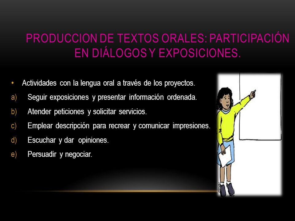 PRODUCCION DE TEXTOS ORALES: Participación en diálogos y exposiciones.