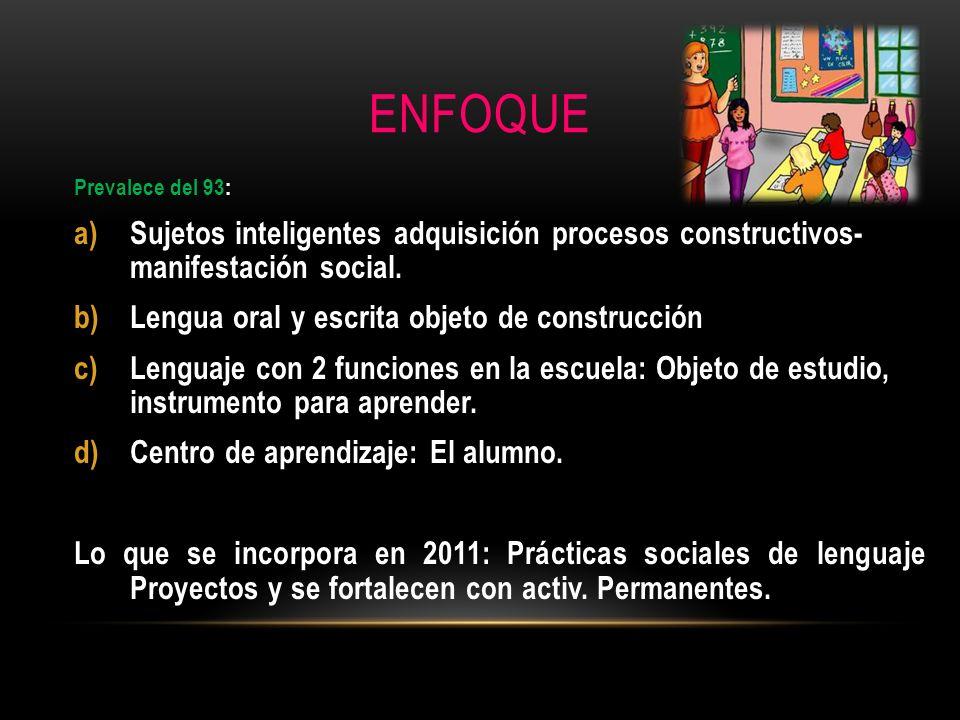 ENFOQUE Prevalece del 93: Sujetos inteligentes adquisición procesos constructivos- manifestación social.