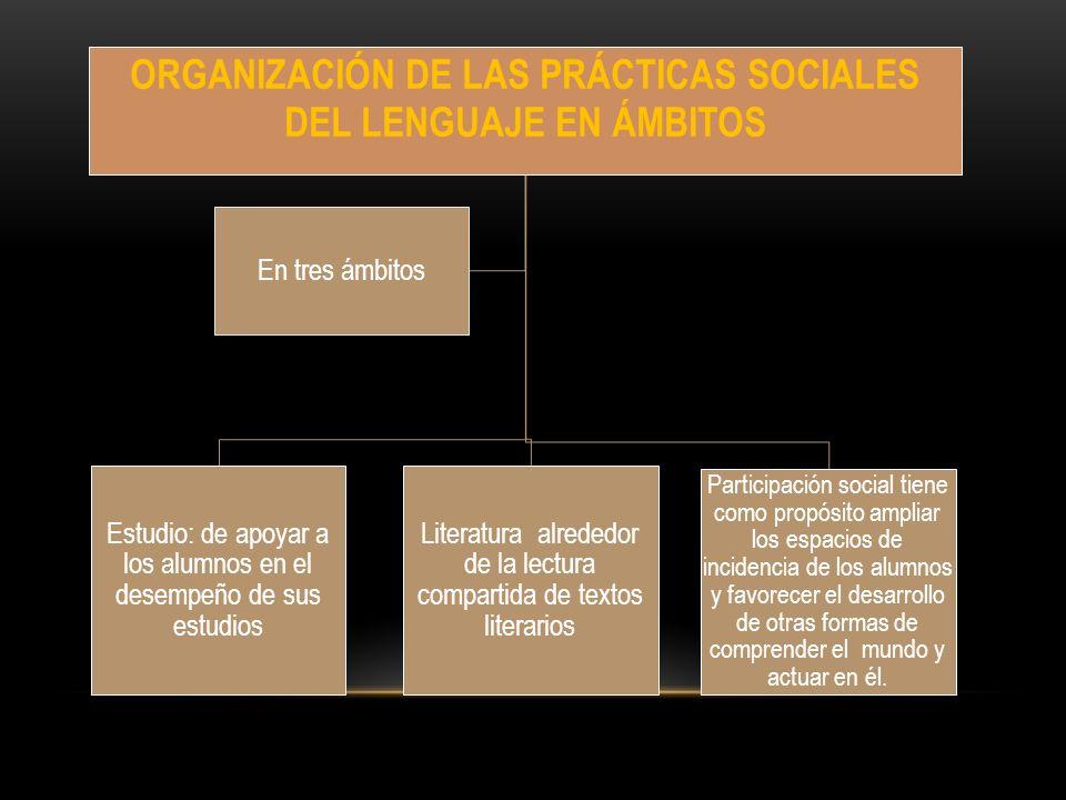 ORGANIZACIÓN DE LAS PRÁCTICAS SOCIALES DEL LENGUAJE EN ÁMBITOS