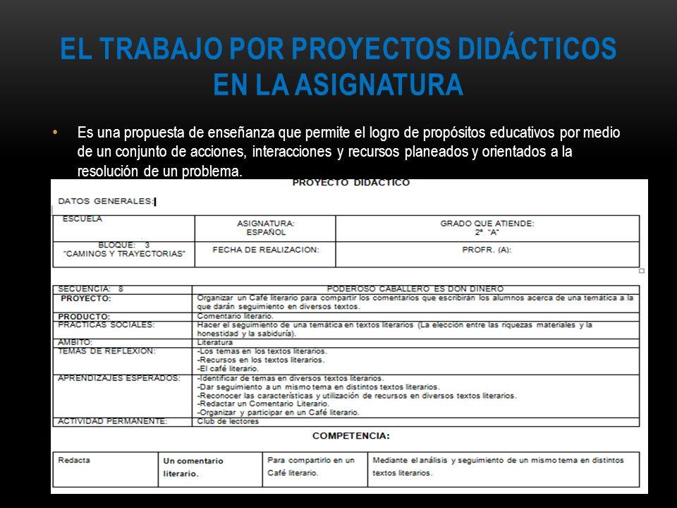 El trabajo por proyectos didácticos en la asignatura