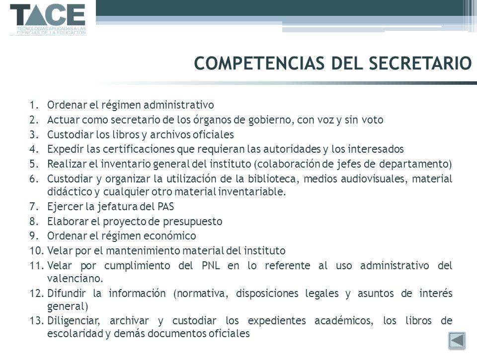 COMPETENCIAS DEL SECRETARIO