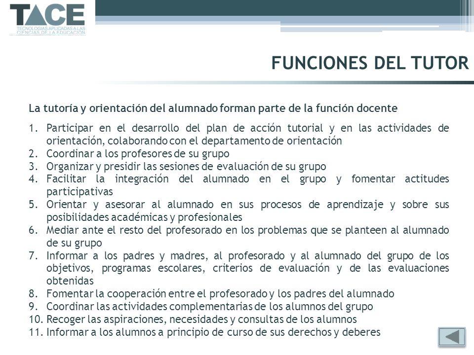 FUNCIONES DEL TUTOR La tutoría y orientación del alumnado forman parte de la función docente.