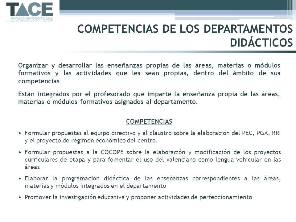 COMPETENCIAS DE LOS DEPARTAMENTOS DIDÁCTICOS