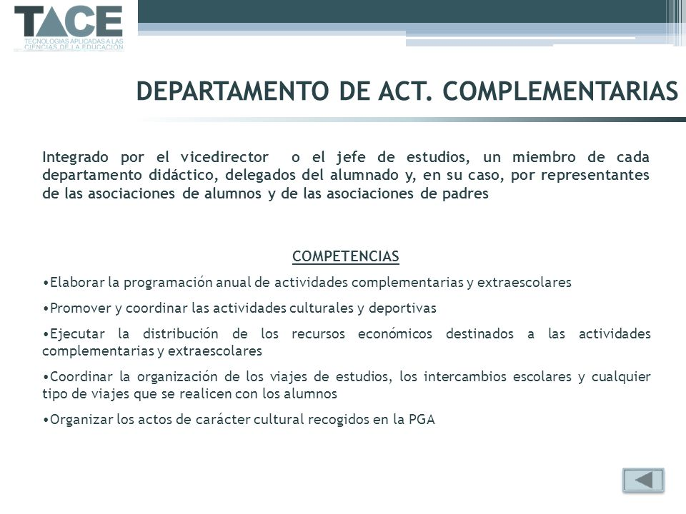 DEPARTAMENTO DE ACT. COMPLEMENTARIAS