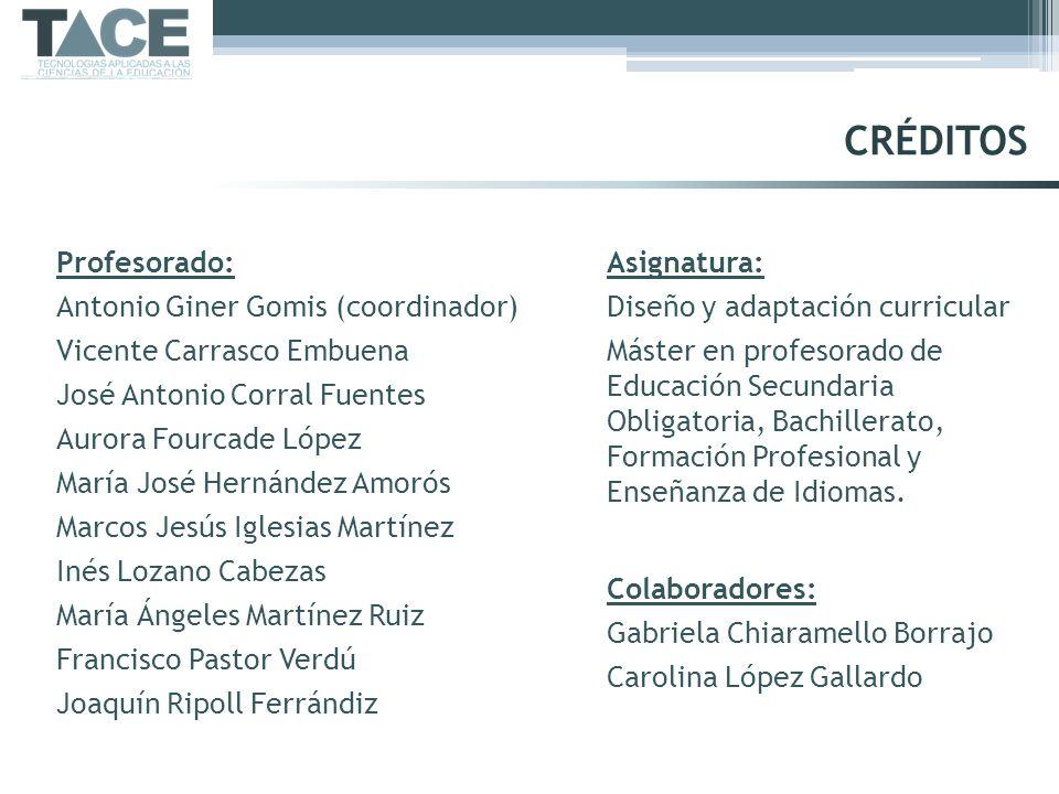 CRÉDITOS Profesorado: Antonio Giner Gomis (coordinador)