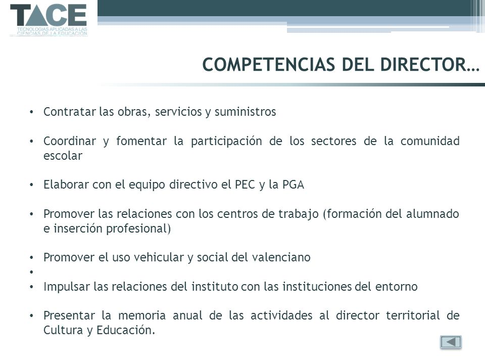 COMPETENCIAS DEL DIRECTOR…