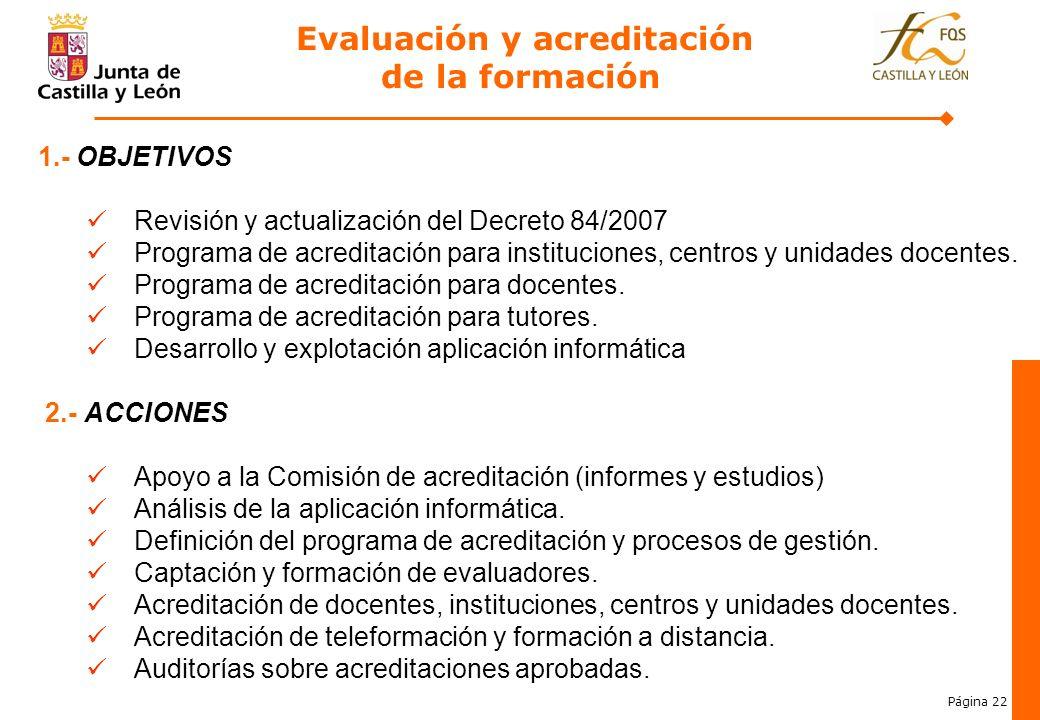 Evaluación y acreditación de la formación