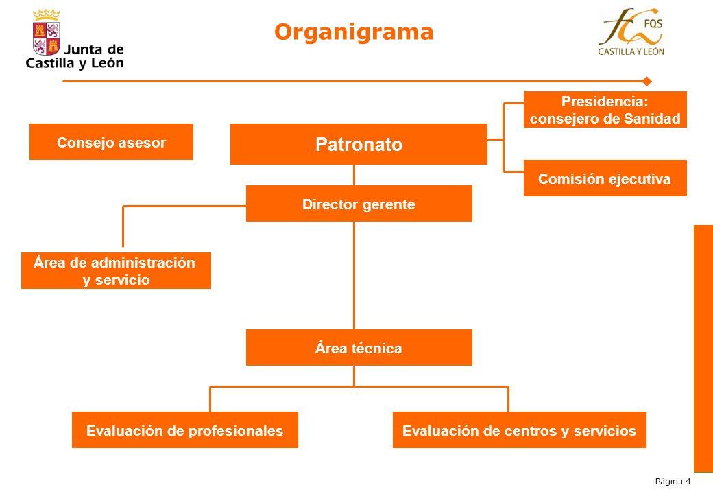 Organigrama Patronato Presidencia: consejero de Sanidad Consejo asesor