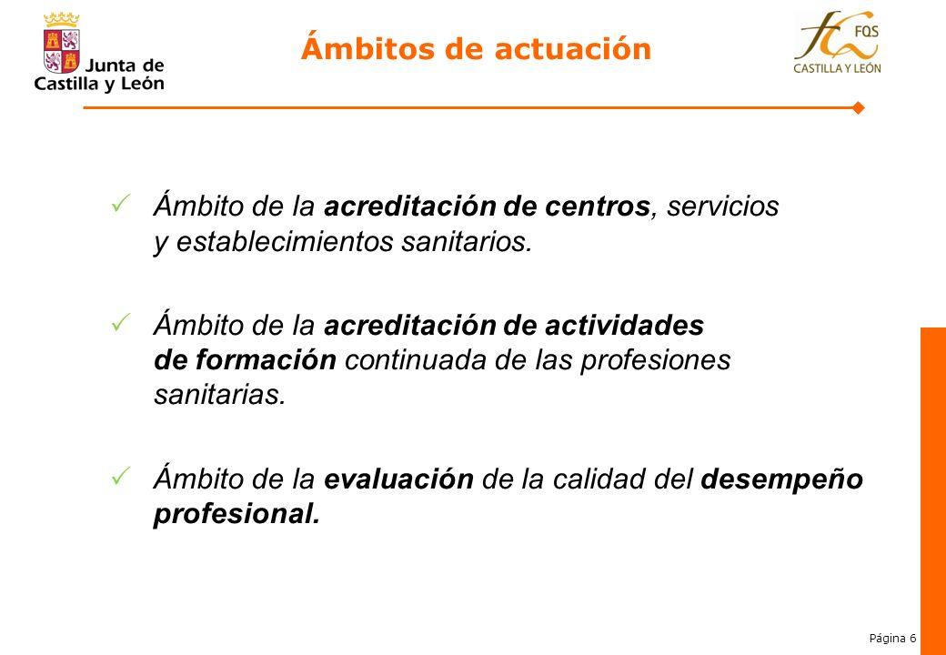 Ámbitos de actuación Ámbito de la acreditación de centros, servicios y establecimientos sanitarios.
