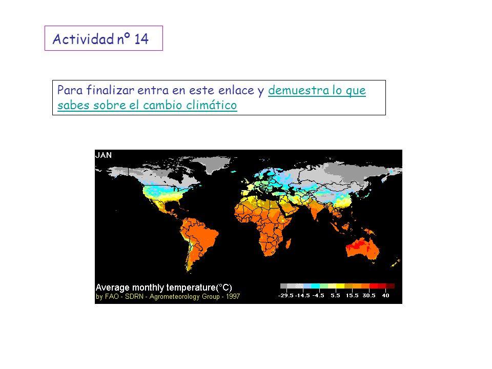Actividad nº 14 Para finalizar entra en este enlace y demuestra lo que sabes sobre el cambio climático.