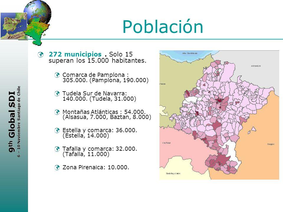 Población 272 municipios . Solo 15 superan los 15.000 habitantes.