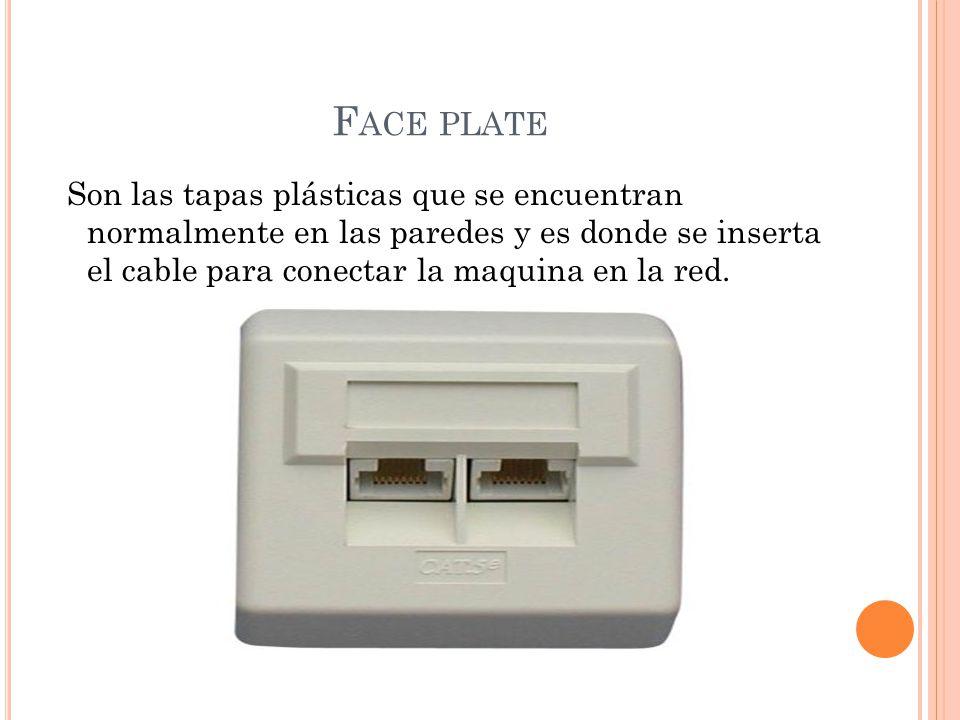 Face plate Son las tapas plásticas que se encuentran normalmente en las paredes y es donde se inserta el cable para conectar la maquina en la red.
