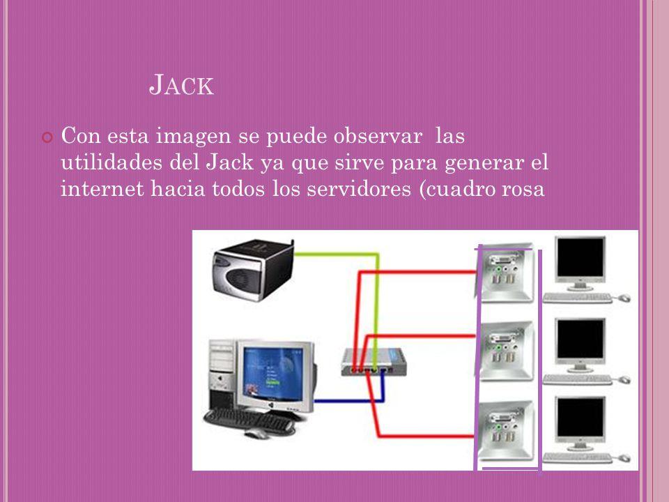 Jack Con esta imagen se puede observar las utilidades del Jack ya que sirve para generar el internet hacia todos los servidores (cuadro rosa.