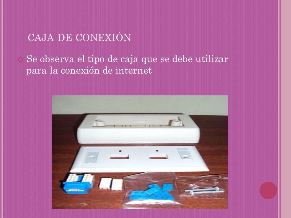 caja de conexión Se observa el tipo de caja que se debe utilizar para la conexión de internet