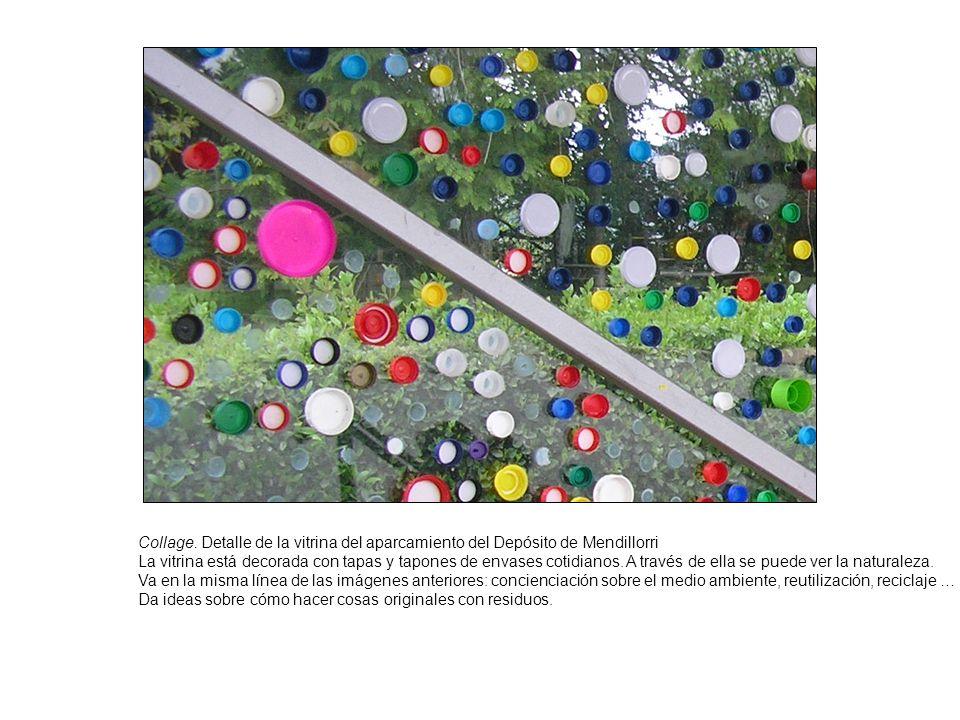 Collage. Detalle de la vitrina del aparcamiento del Depósito de Mendillorri