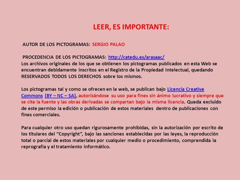 LEER, ES IMPORTANTE: AUTOR DE LOS PICTOGRAMAS: SERGIO PALAO