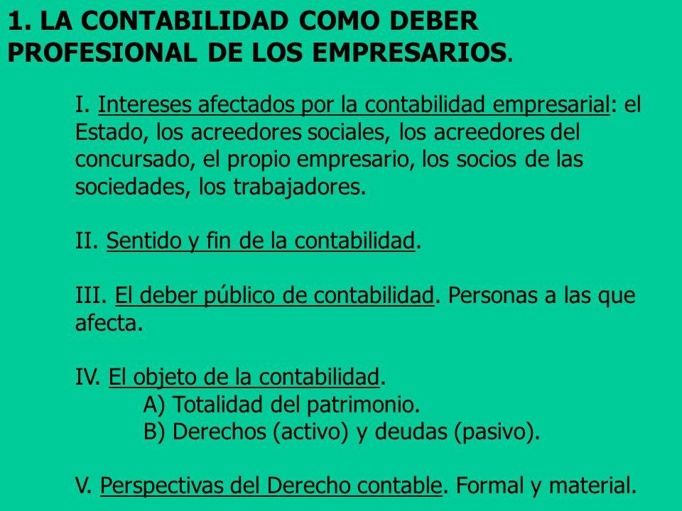 1. LA CONTABILIDAD COMO DEBER PROFESIONAL DE LOS EMPRESARIOS.