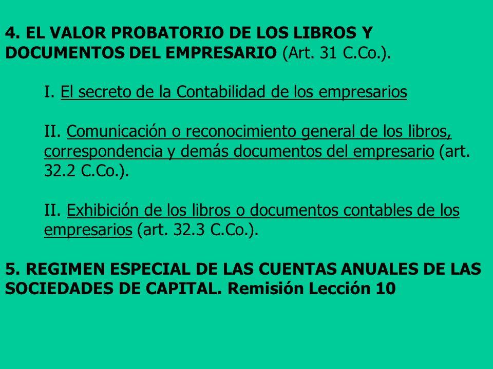 4. EL VALOR PROBATORIO DE LOS LIBROS Y DOCUMENTOS DEL EMPRESARIO (Art