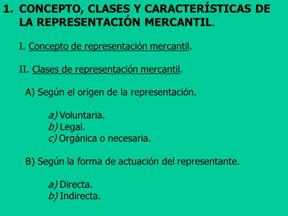 CONCEPTO, CLASES Y CARACTERÍSTICAS DE LA REPRESENTACIÓN MERCANTIL.