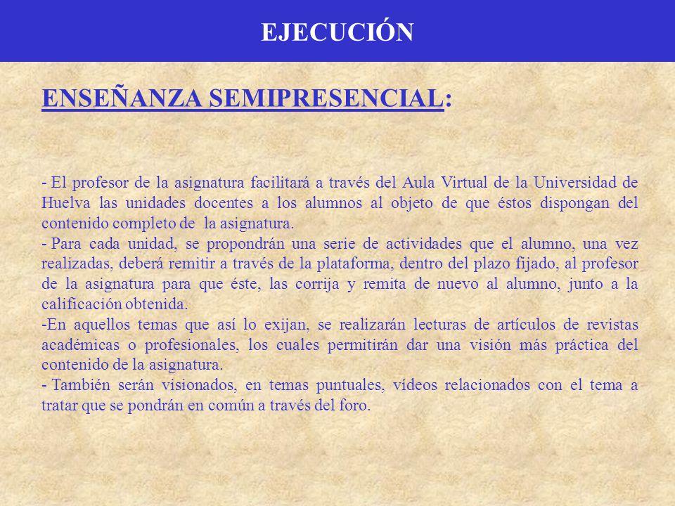ENSEÑANZA SEMIPRESENCIAL: