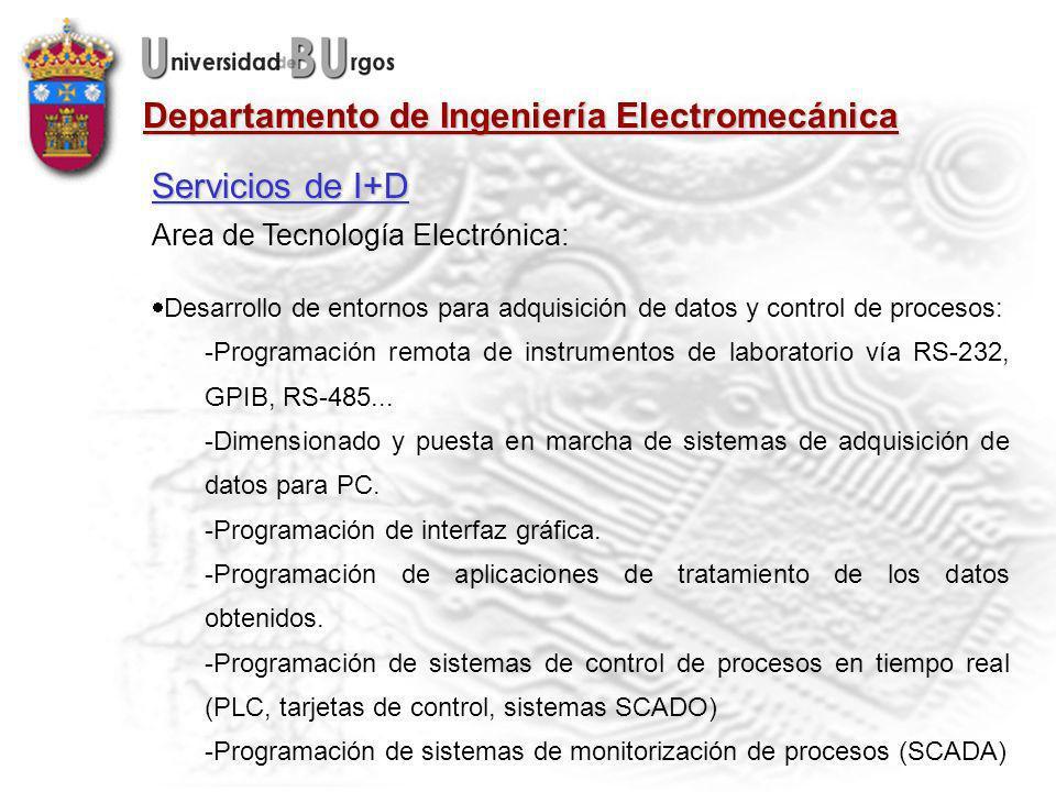 Servicios de I+D Area de Tecnología Electrónica: